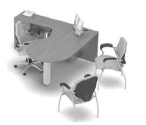 Global Zira L Desk with technology P Top