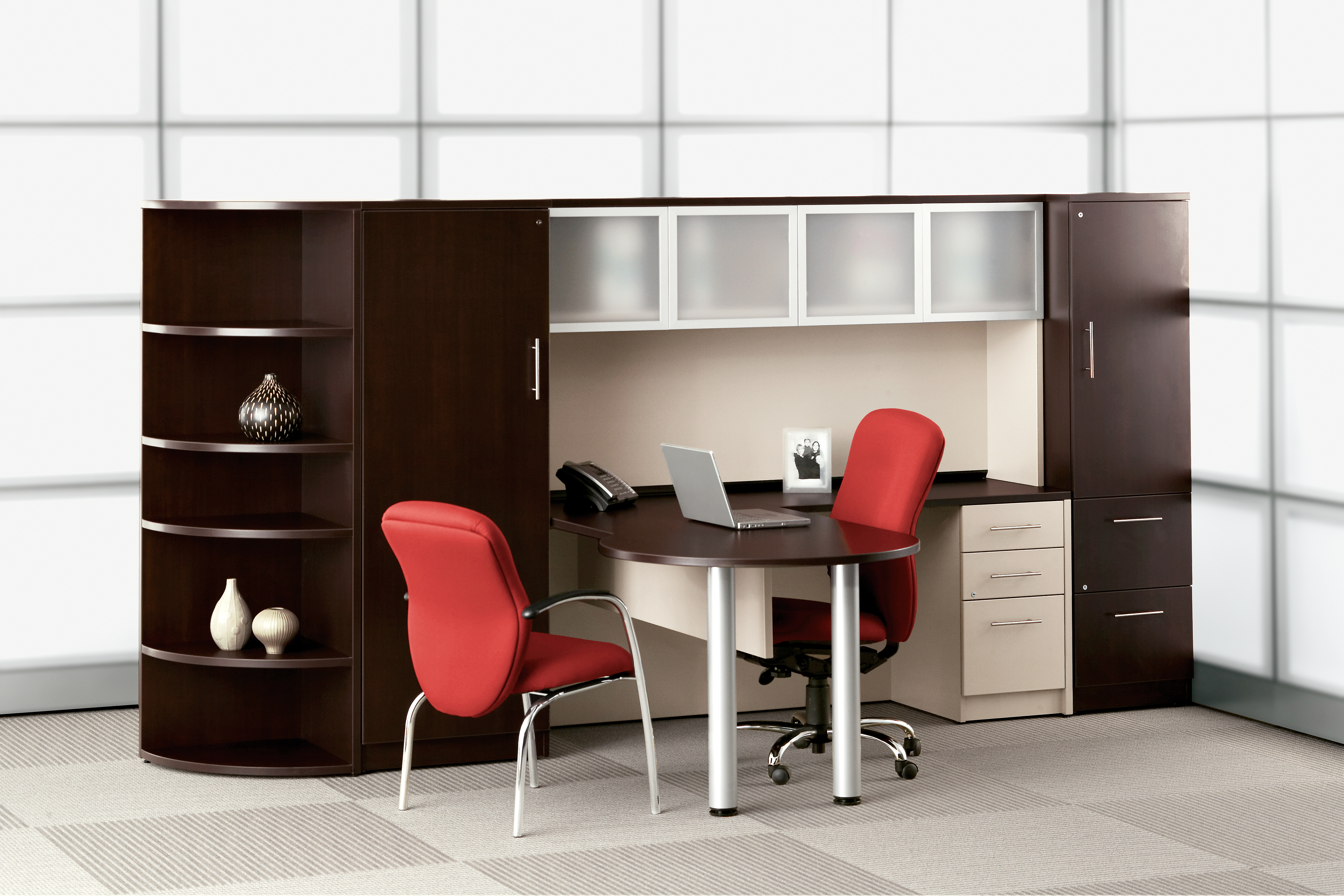 Tayco L Desk with Side Counter Storage Unit