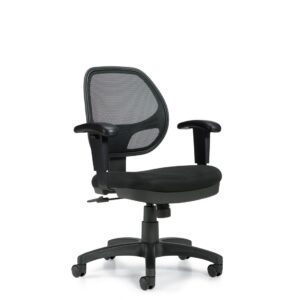 OfficesToGo-OTG11647B-Mesh-Mid-Back-Chair-Front-Right-View