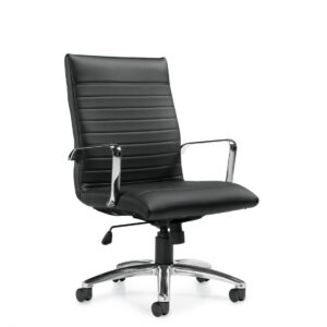 OfficesToGo-OTG11730B-Luxhide-High-Back-Chair-Black-Front-Right-View